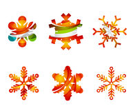 Set of abstract colorful snowflake logo icons Royalty Free Stock Image