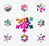Set of abstract colorful snowflake logo icons Stock Photos