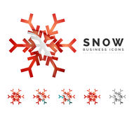 Set of abstract colorful snowflake logo icons Royalty Free Stock Photo