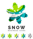 Set of abstract colorful snowflake logo icons Stock Photography
