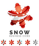 Set of abstract colorful snowflake logo icons Royalty Free Stock Photography