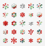 Set of abstract colorful snowflake logo icons Stock Photo