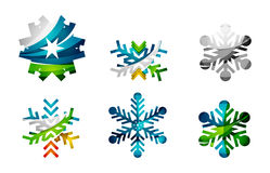 Set of abstract colorful snowflake logo icons Royalty Free Stock Photos