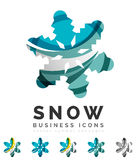 Set of abstract colorful snowflake logo icons Stock Image
