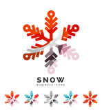 Set of abstract colorful snowflake logo icons Royalty Free Stock Images