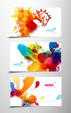 Set of abstract colorful splash gift cards. Royalty Free Stock Image
