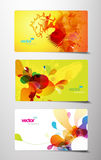 Set of abstract colorful splash gift cards. Royalty Free Stock Images