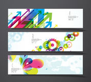Set of abstract colorful splash, toothed wheels and arrows Stock Image