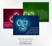 Set of abstract colorful technology background with gears Royalty Free Stock Photos