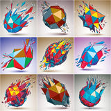 Set of abstract colorful vector low poly wrecked objects, Black Royalty Free Stock Photos