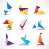 Set of abstract colorful vector origami icons, Stock Photography