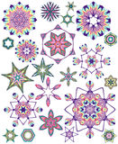Set of abstract colorful vector stars or snowflakes for your design. Royalty Free Stock Photo
