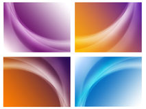 Set of abstract colourful backgrounds. Four backgrounds, there are wave Stock Images