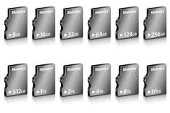 Set of abstract computer memory in different capacity Royalty Free Stock Image