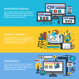 Set of abstract concepts design process. Modern editable flat line vector set of abstract web design process, responsive and graphic design Stock Images
