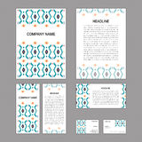 Set of abstract corporate templates. Ethnic boho seamless patter Royalty Free Stock Images