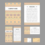 Set of abstract corporate templates. Ethnic boho seamless patter Stock Photo