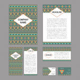 Set of abstract corporate templates. Ethnic boho seamless patter Royalty Free Stock Photography