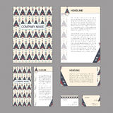 Set of abstract corporate templates. Ethnic boho seamless patter Royalty Free Stock Photos