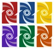 Set of Abstract Cover Pattern - Red Blue Yellow Purple Green Orange vector illustration