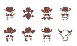 Set of abstract cowboys Royalty Free Stock Images