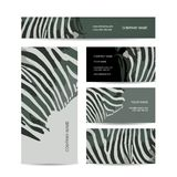 Set of abstract creative business cards, zebra Stock Images