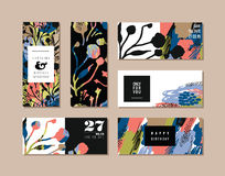 Set of abstract creative cards. Hand drawn art texture and floral elements. vector illustration