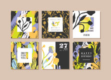 Set of abstract creative cards. Hand drawn art texture and floral elements. royalty free illustration