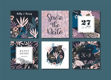 Set of abstract creative cards. royalty free illustration