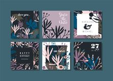 Set of abstract creative cards. vector illustration