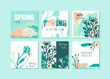 Set of abstract creative Spring cards. Fresh colors. royalty free illustration