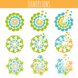 Set of abstract cute dandelions. Vector  template Royalty Free Stock Images