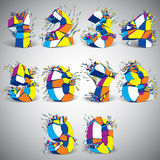 Set of abstract 3d faceted colorful numbers with connected black. Lines and dots. Vector low poly shattered design elements with fragments and particles royalty free illustration