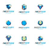Set of abstract 3d faceted figures with connected lines. Vector. Low poly design elements collection. Set of brilliant jewelry signs for use in advertisement Royalty Free Stock Photography