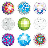 Set of abstract 3d faceted figures with connected lines. Vector. Low poly design elements collection, scientific concept. Cybernetic orb shapes with grid and vector illustration