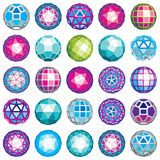 Set of abstract 3d faceted figures with connected lines. Vector. Low poly design elements collection, scientific concept. Cybernetic orb shapes with grid and stock illustration