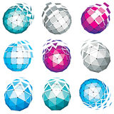 Set of abstract 3d faceted figures with connected lines. Vector. Low poly design elements collection, scientific concept. Cybernetic orb shapes with grid and Stock Image