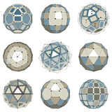 Set of abstract 3d faceted figures with connected lines. Vector. Low poly design elements collection, scientific concept. Cybernetic orb shapes with grid and Stock Photography