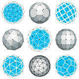 Set of abstract 3d faceted figures with connected lines. Vector low poly design elements collection, scientific concept. Cybernetic orb shapes with grid and vector illustration