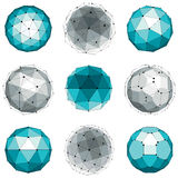 Set of abstract 3d faceted figures with connected lines. Vector. Low poly design elements collection, scientific concept. Cybernetic orb shapes with grid and Stock Photo