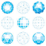 Set of abstract 3d faceted figures with connected lines. Vector. Low poly design elements collection, scientific concept. Cybernetic orb shapes with grid and royalty free illustration