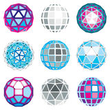 Set of abstract 3d faceted figures with connected lines. Vector. Low poly design elements collection, scientific concept. Cybernetic orb shapes with grid and Royalty Free Stock Image