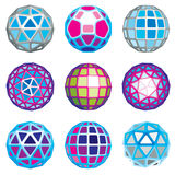 Set of abstract 3d faceted figures. Vector low poly design. Elements collection, scientific concept. Cybernetic orb shapes, abstract structures royalty free illustration