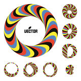 Set of abstract 3d icons such emblems. 3d bracelets or rings. Abstract geometric shape. Optical Art royalty free illustration