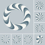 Set of abstract 3d vector icons such emblems. 3d bracelets, rings. Abstract geometric shape. Optical Art vector illustration