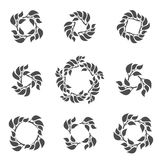 Set of abstract deciduous frames. A frame from branches with leaves. Decorative deciduous elements Royalty Free Stock Image