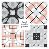 Set of abstract decorative seamless patterns. Vector illustration. May be used for design fabrics, prints, backgrounds, wrapping covers Royalty Free Stock Images