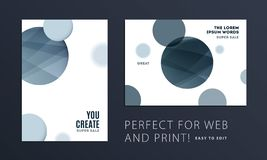 Set of Abstract design brochure cover, creative flyer in A4 with grey round shapes for branding, marketing kit. Set of Abstract design brochure in modern style royalty free illustration