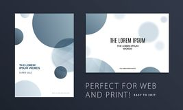 Set of Abstract design brochure cover, creative flyer in A4 with grey round shapes for branding, marketing kit. Set of Abstract design brochure in modern style stock illustration