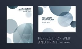 Set of Abstract design brochure cover, creative flyer in A4 with grey round shapes for branding, marketing kit. Set of Abstract design brochure in modern style vector illustration